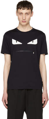 Fendi Navy Bag Bugs Zip Mouth T-Shirt