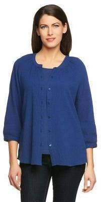 Denim & Co. 3/4 Sleeve Gauze Peasant Shirt with Knit Tank