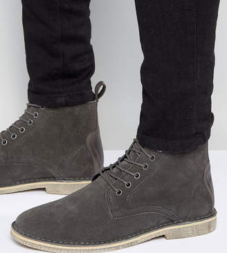 Asos DESIGN Wide Fit desert boots in gray suede with leather detail