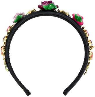 Dolce & Gabbana rose and rhinestone embellished headband