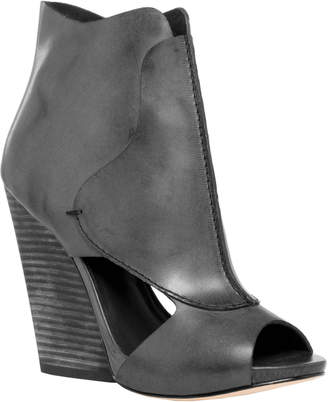 Max Studio eagle : waxed leather high heel wedge peep toe booties