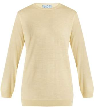 Prada Crew Neck Wool Knit Sweater - Womens - Light Yellow