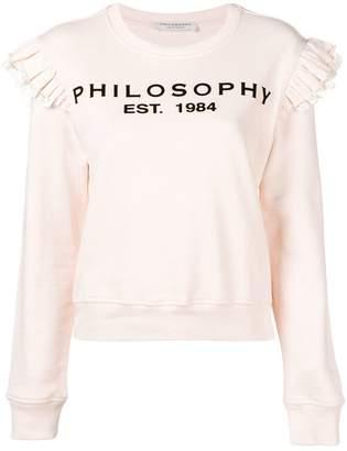 Philosophy di Lorenzo Serafini printed frilled shoulder sweatshirt
