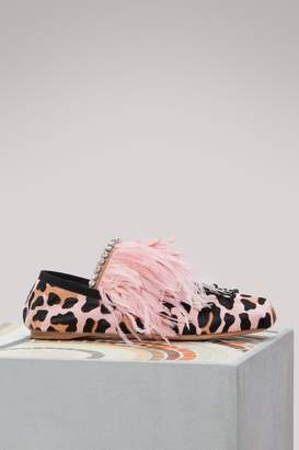 Miu Miu Feathers ornaments ballet pumps