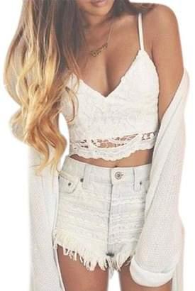 20e7a8e810 Welcomeuni fashion Women ite Crochet Tank Camisole Lace Vest Blouse Bralette  Bra Crop Top (L