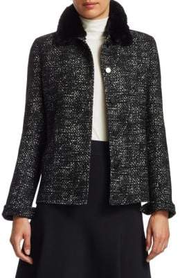 Akris Punto Faux-Fur Collar Tweed Jacket