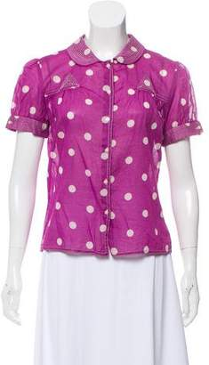 Marc Jacobs Polka Dot Short Sleeve Top