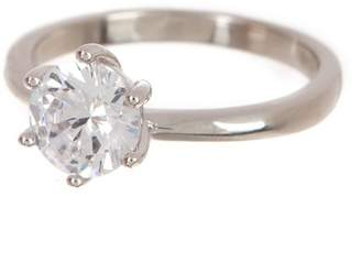 Argentovivo Sterling Silver Round CZ Solitaire Engagement Ring