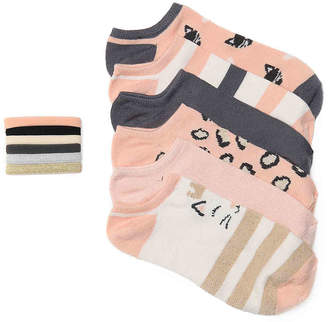 Capelli Cat Toddler & Youth No Show Socks & Hair Ties Set - 6 Pack - Girl's