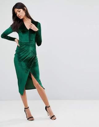 Club L Deep V Asymmetric Wrap Over Midi Dress In Velvet $36 thestylecure.com