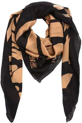 Roberto Cavalli Zebra Printed Silk Satin Shawl