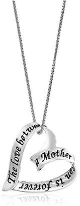 Sterling Ribbon Heart The Love Between A Mother and Son Is Forever Pendant Necklace