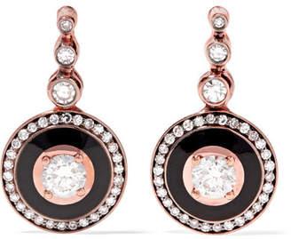 Selim Mouzannar - Mina 18-karat Rose Gold, Enamel And Diamond Earrings