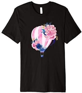 Beautiful Pink Hot Air Balloon Flower Art Premium T-Shirt
