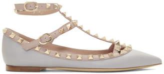 Valentino Grey Garvani Rockstud Ballerina Flats
