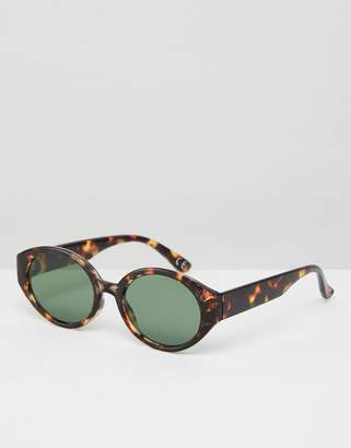Asos DESIGN Fine Frame Oval Sunglasses In Tort