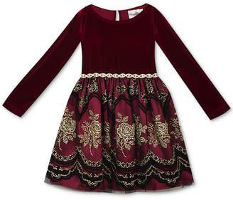 Rare Editions Baby Girls Velvet & Flocked-Mesh Dress