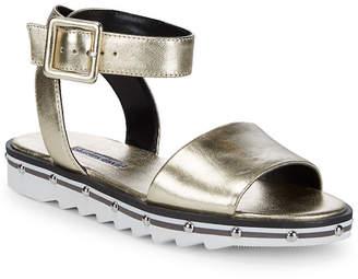 Charles David Shimmy Ankle-Strap Platform Leather Sandal