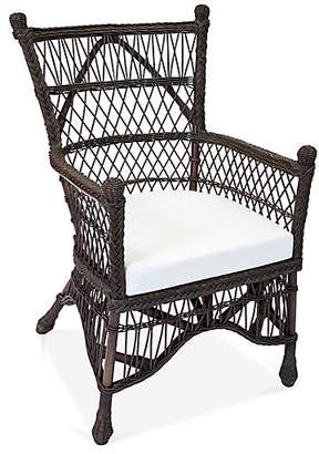 One Kings Lane Beehive Wicker Accent Chair - Blue