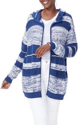 NYDJ Hooded Stripe Cotton Cardigan
