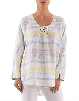 Ping Pong 3/4 Sleeve Multi Stripe Linen Lace Up Top