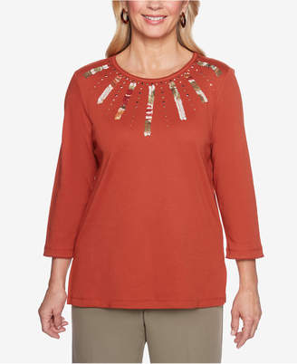 Alfred Dunner Autumn In New York Embellished Appliqué Top