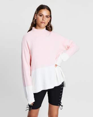 Missguided High Neck Colour-Block Fluffy Jumper