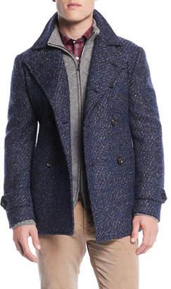 Isaia Men's Boucle Wool-Blend Pea Coat