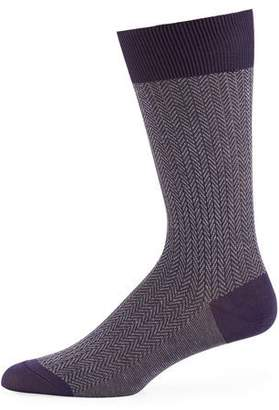 Pantherella Men's Fabian Chevron Pattern Egyptian Cotton Socks
