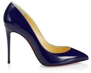 Christian Louboutin Women's Pigalle Follies 100 Patent Leather Pumps - Navy - Size 42 (12)