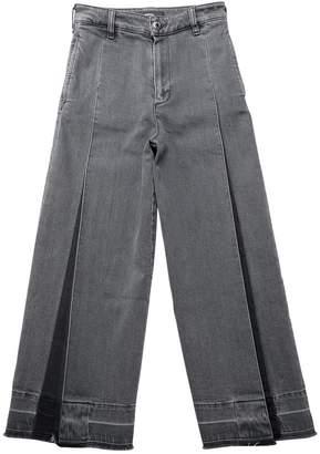 Diesel Pleated Wide Leg Washed Denim Jeans