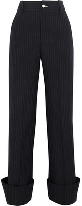 Jacquemus - Pinstriped Wool Wide-leg Pants - Navy $720 thestylecure.com