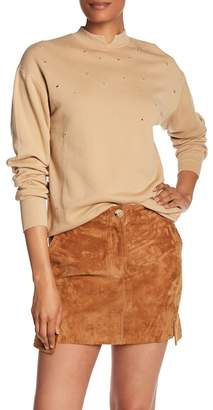 Helmut Lang Distressed Cutout Crew Neck Sweater