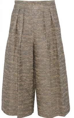 Alice + Olivia Pleated Metallic Cotton-Blend Bouclé-Tweed Culottes