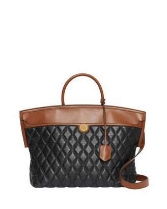 Burberry Argyle Quilted Leather Medium Top Handle Bag