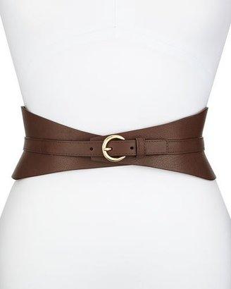Neiman Marcus Leather Corset Belt, Brown $185 thestylecure.com