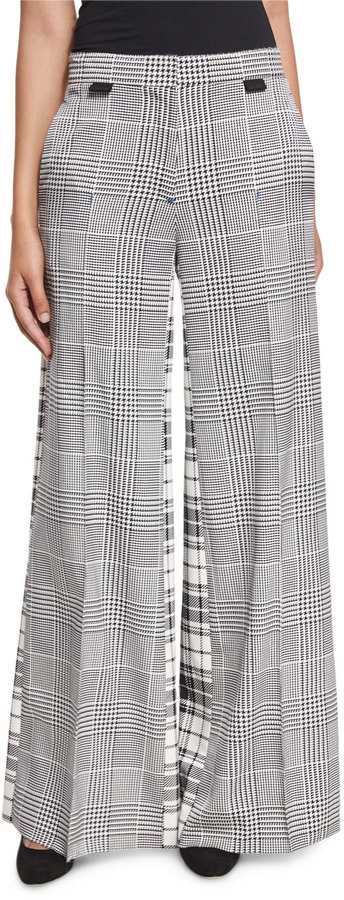 Calvin KleinCalvin Klein Wide-Leg Mixed-Plaid Silk Pants, Black