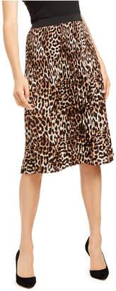 INC International Concepts Inc Printed Leopard Midi Skirt