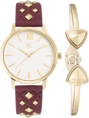 INC International Concepts I.N.C. Women's Faux Leather Strap Watch 38mm Gift Set, Created for Macy's
