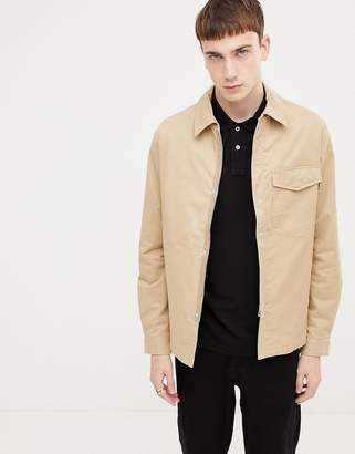 Paul Smith zip through overshirt jacket in sand