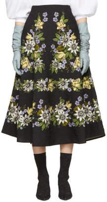 Erdem Black Floral Matelasse Tiana Skirt