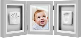 Pearhead Pear Head Newborn Baby Handprint and Footprint Deluxe Photo Frame & Impression Kit, Gray
