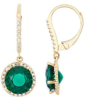 FINE JEWELRY Lab Created Emerald And 1/3C.T. T.W.Diamond 10K Yellow Gold Earrings