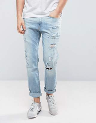 Hollister Cropped Skinny Jeans Destroyed in Light Wash