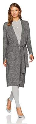 Halston Women's Long Sleeve Open Front Duster Cardigan with Sash