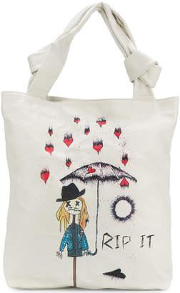 John Galliano Rip It print shoulder bag