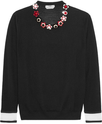 Fendi - Embellished Cashmere And Silk-blend Sweater - Black $1,050 thestylecure.com