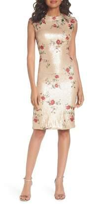 Mac Duggal Sequin & Embroidery Sheath Dress