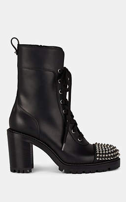 Christian Louboutin Women's Studded Cap-Toe Leather Ankle Boots - Version Black