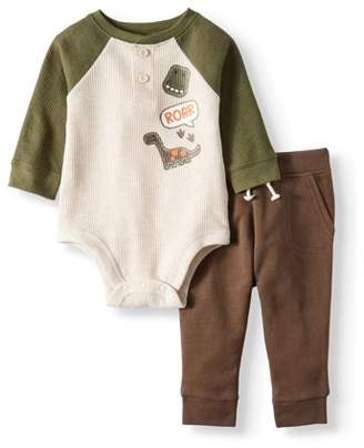 Garanimals Long Sleeve Thermal Raglan Bodysuit & French Terry Jogger Pants, 2pc Outfit Set (Baby Boys)